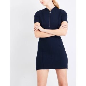 MAJE Fitted Crepe Navy Mini Dress